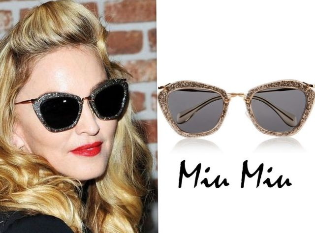 MIU MIU Cat-eye glittered acetate and metal sunglasses £225
