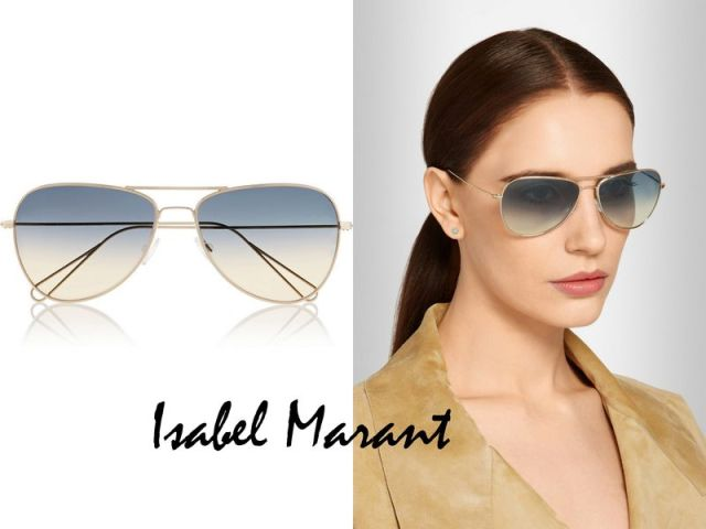 Isabel Marant teamed up with Oliver Peoples to update the ever-classic aviator-style sunglasses ISABEL MARANT Matt aviator-style metal sunglasses £215