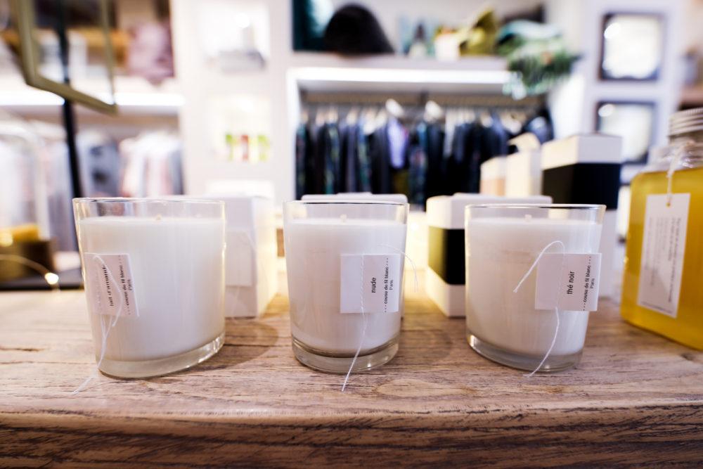 bougies de la marque cousu de fil blanc à lyon au douce cocoon store