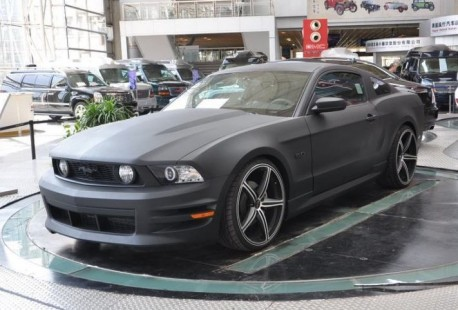 Matte-black Ford Mustang in China