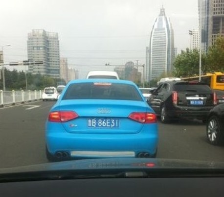 Audi S4 is baby blue in China