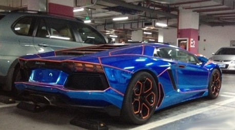 Another Shot at the the shiny blue & orange Lamborghini Aventador from China