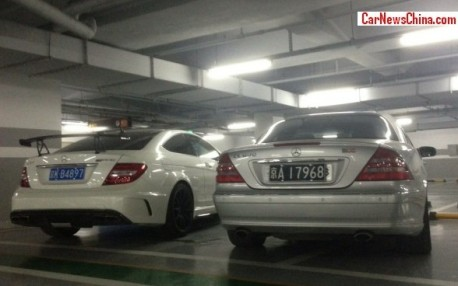 Mercedes-Benz C63 AMG Black Series Coupe meets W215 CL 600 in Beijing, China