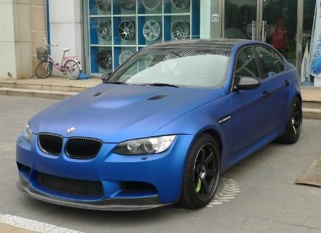 BMW M3 sedan is matte dark blue in China