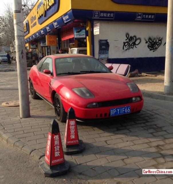 Spotted in China: Fiat Coupe in Red
