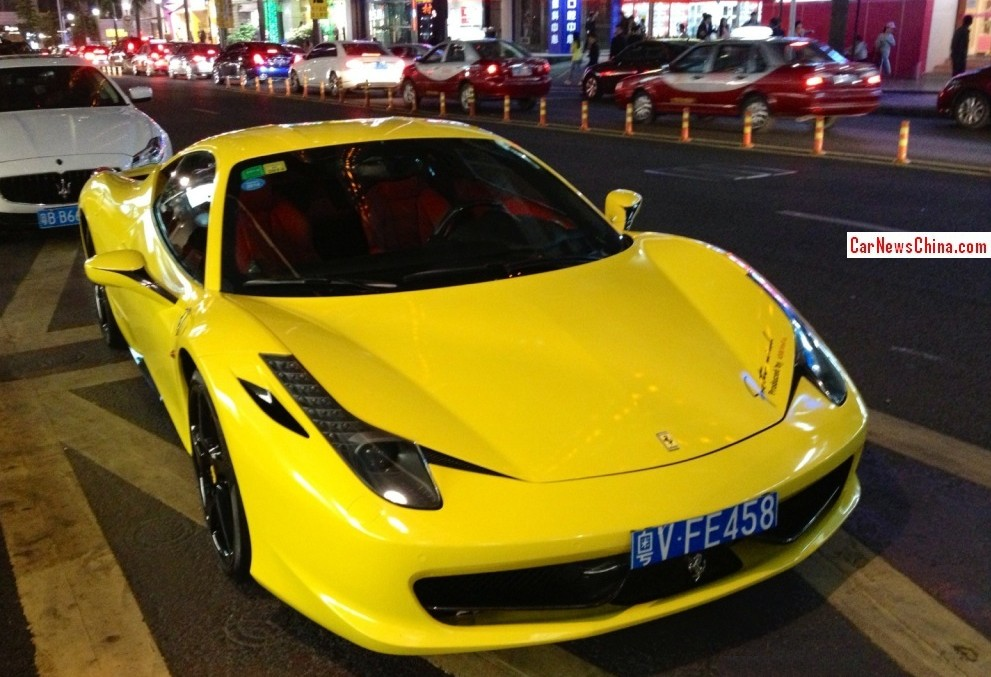 a very flashy ferrari 458 italia supercar spotted in china in the great city of shenzhen in guangdong province the ferocious ferrari is painted in banana - Ferrari 2014 Yellow