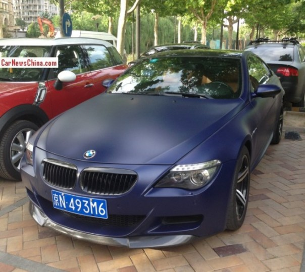 BMW M6 is matte purple with a License in China