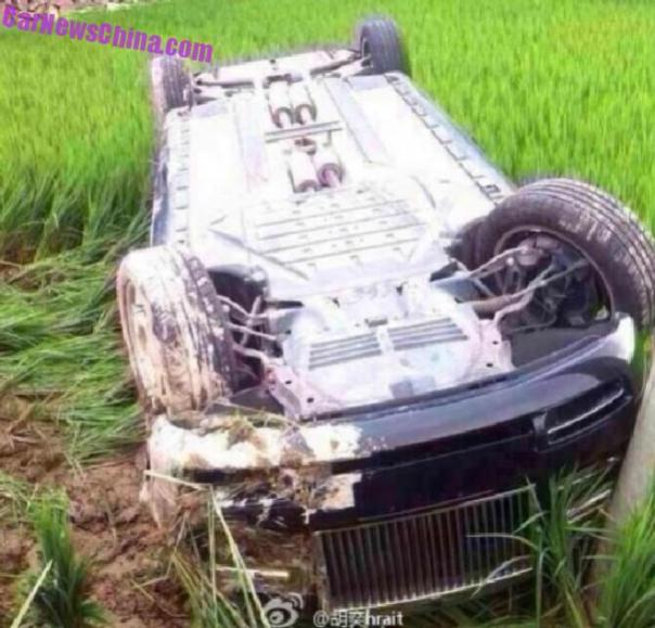 Rolls-Royce Phantom hits a Field in China