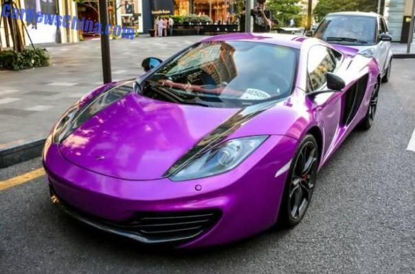 McLaren MP4-12C is shiny purple in China