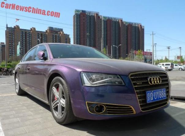 Audi A8L W12 is shiny purple in China