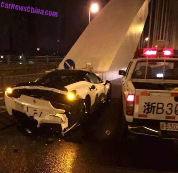 Ferrari 458 crashes with Police Car in China