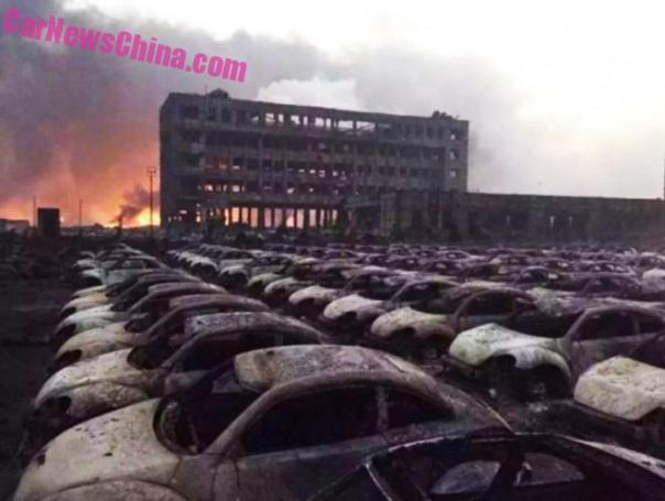 Blast in China's Tianjin port area Burns down dozens of Volkswagen Beetles