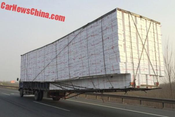 Chinese Truck has a Little Overhang at the Rear to take More Boxes
