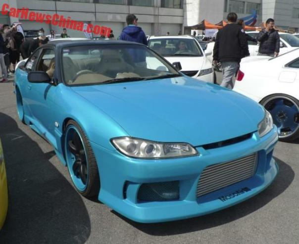 A heavenly blue Nissan Silvia at the Revival Tuner Showdown in China