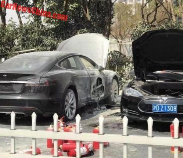 Two Tesla Model S On Fire At Super Charger Station In Shanghai, China