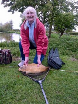 Elaine Fletcher from Rugeley with a 10lb 4oz ghost carp
