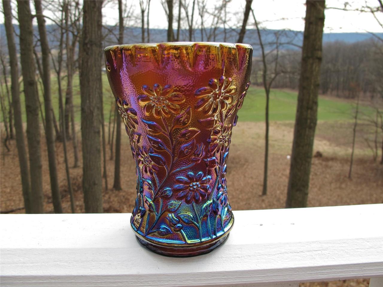 Imperial Amber Daisy Carnival Glass Whimsy Vase  Carnival