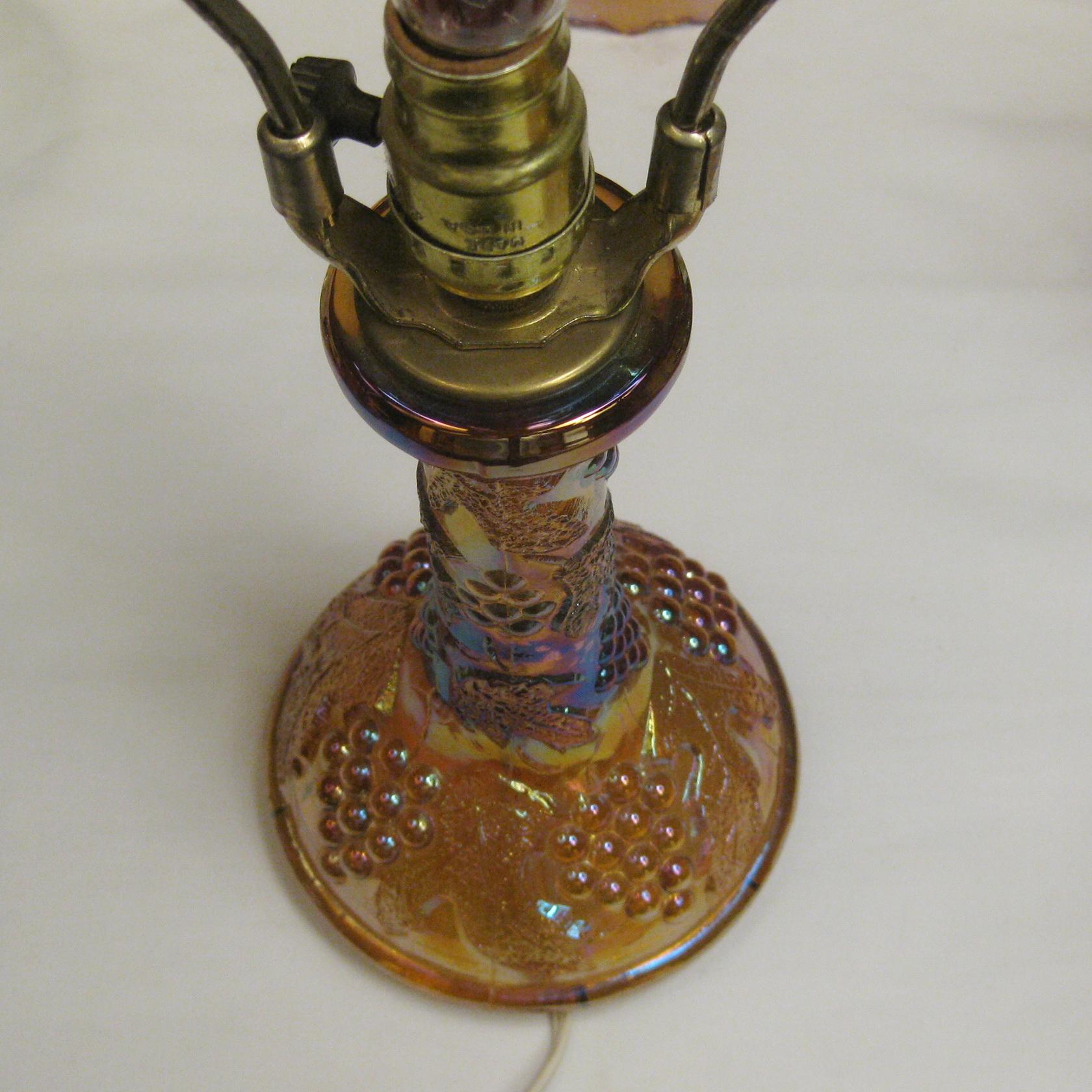 Wetzel Amber Grape & Cable Carnival Glass Lamp  Carnival