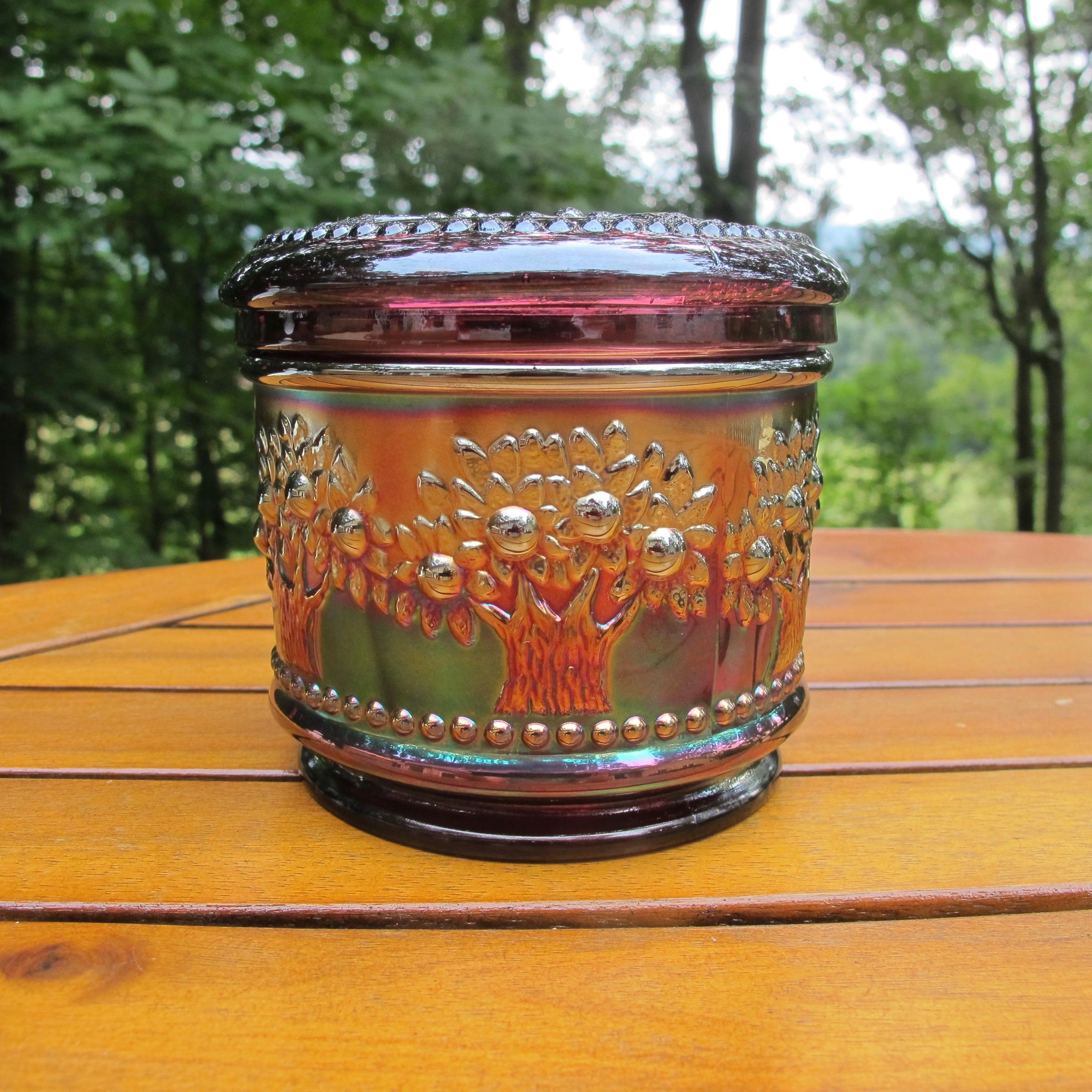 Antique Fenton Amethyst Orange Tree Carnival Glass Powder Jar Carnival Glass
