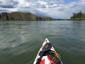 A common view paddling down the Yukon river.