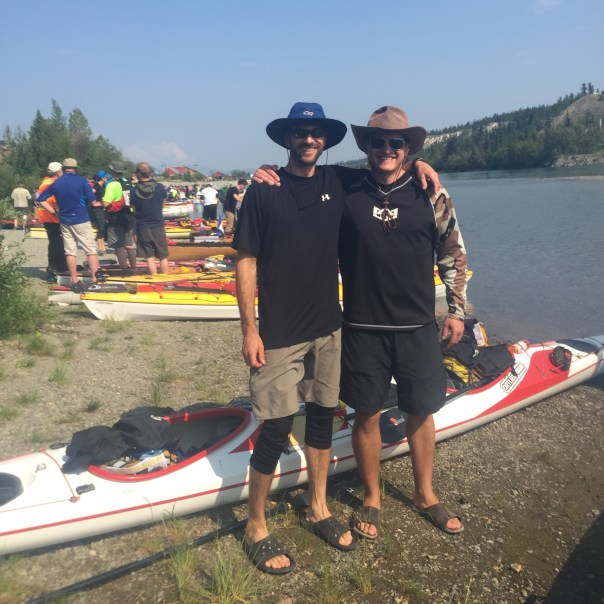 Ryan & Patrick and boat Scientia Navus on team #57 CARO Water Quest in Whitehorse at the start of the race.