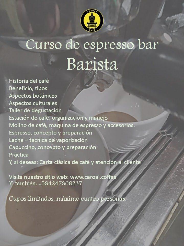 Curso de espresso bar - Barista, es un inicio al mundo del café especial, una preparacion para trabajar en una estacion de cafe.