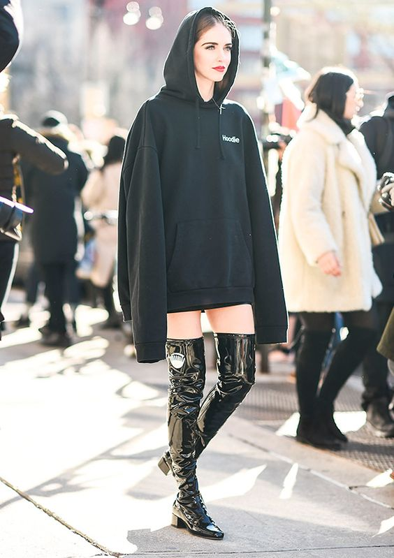 street style look com maxi moletom 1