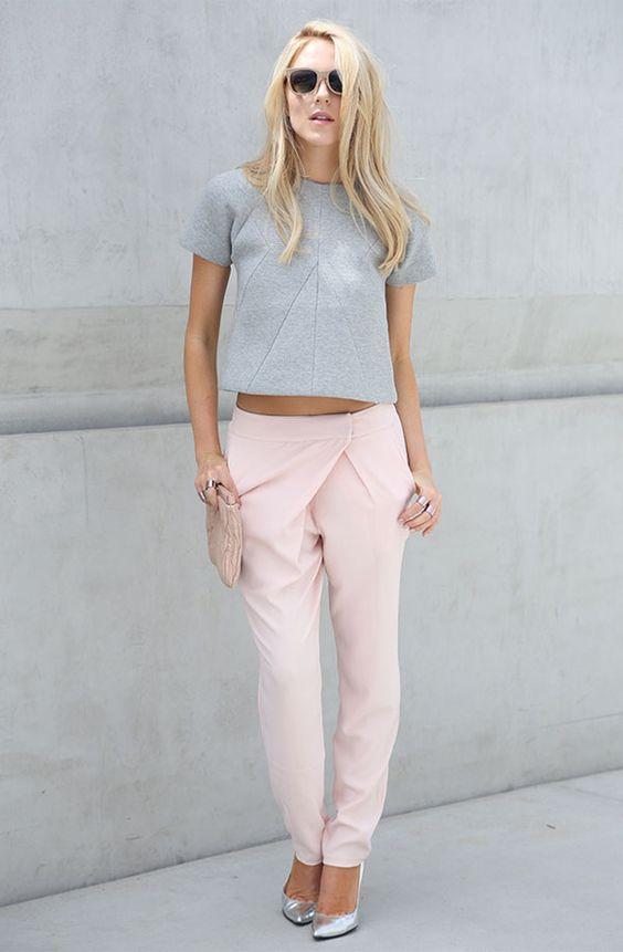 look rosa blush com cinza