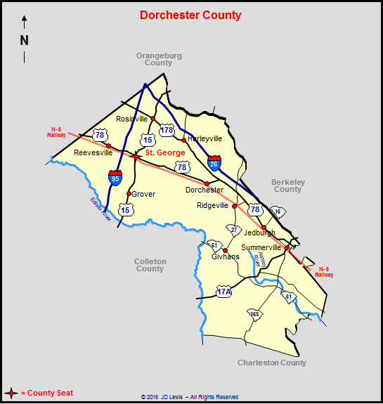 Map Of Dorchester County Sc