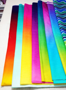 Ombre fabrics, batiks and commercial prints