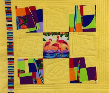 Madly Modern Flamingo MiniQuilt--pattern and workshop by Carole Lyles Shaw
