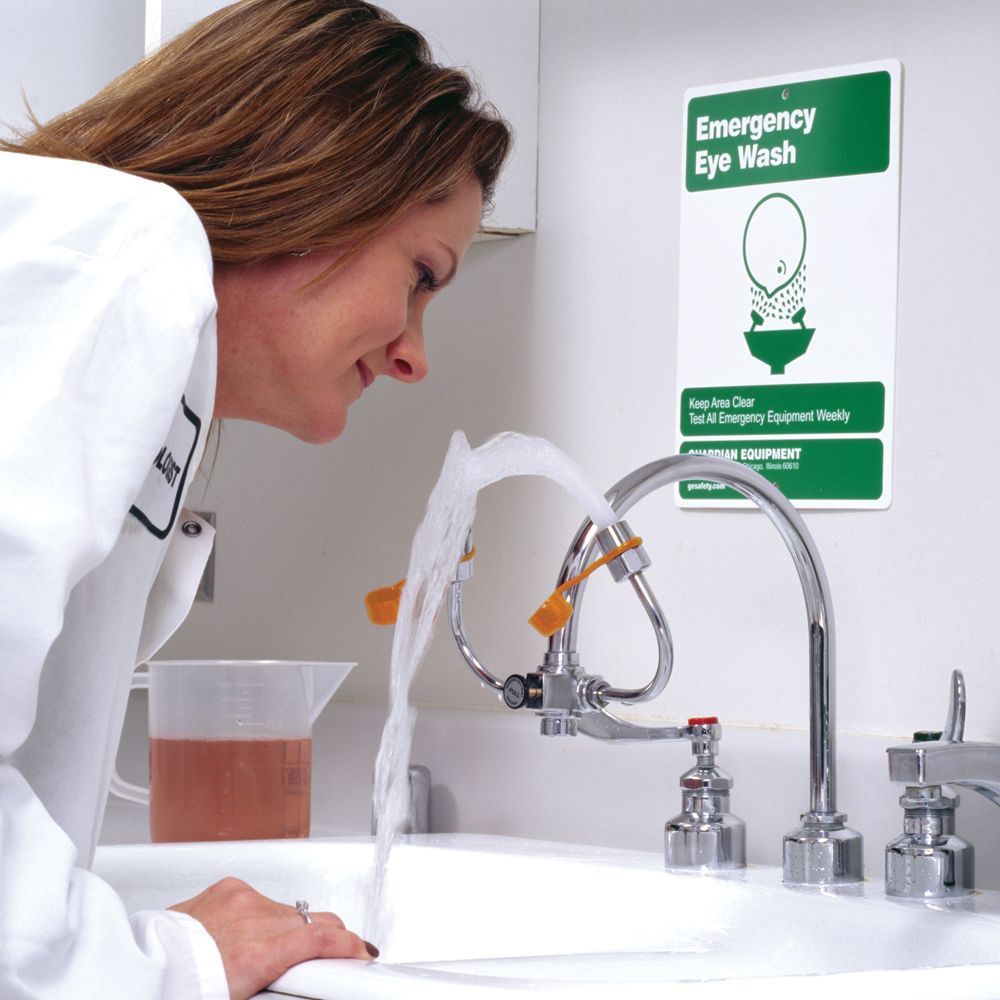 eyewash faucet mount for gooseneck faucet