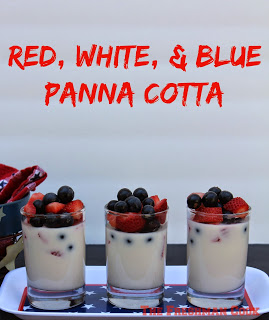 Red, white, and blue panna cotta