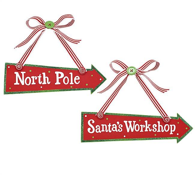 Wood North Pole And Santas Workshop Ornaments