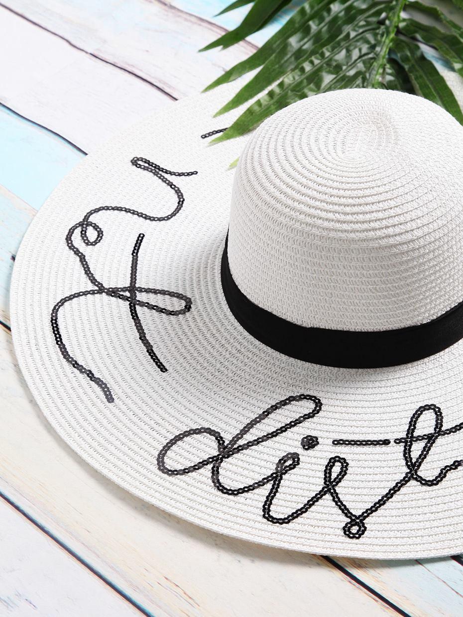 Cappello paglia scritta