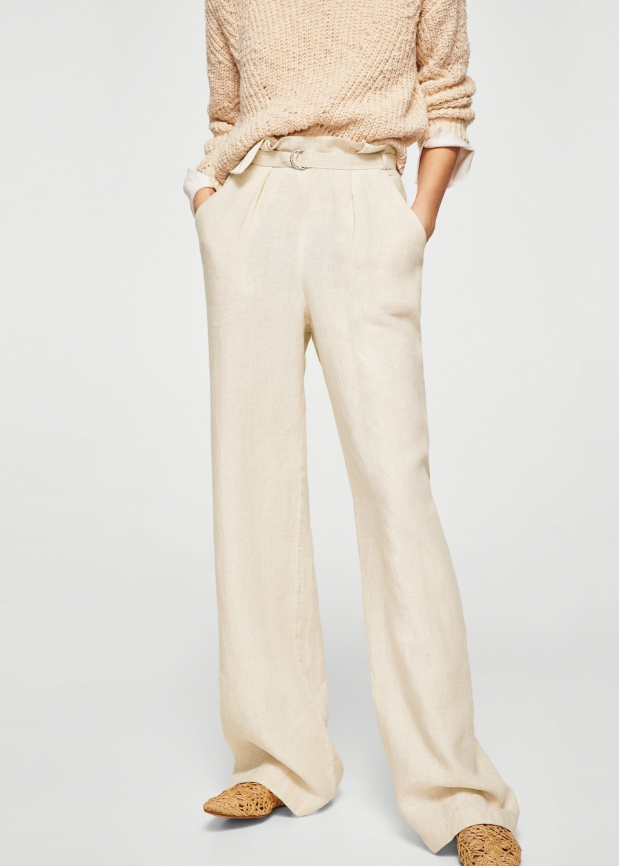 Pantaloni a vita alta in lino