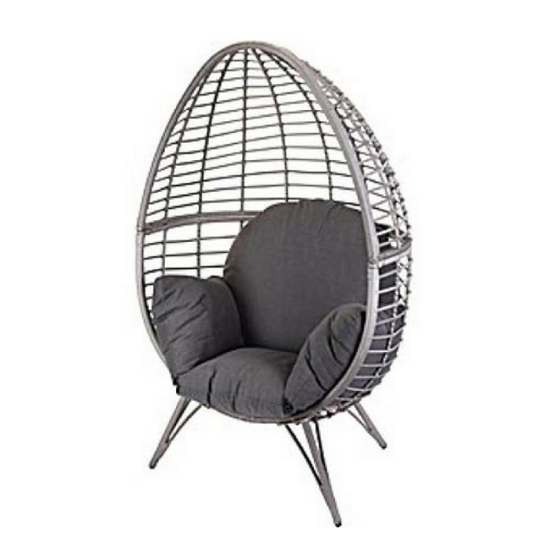 Rattan Egg Chair with Stand and Cushion  Grey  Egg Chairs