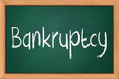 Bankruptcy Written On Chalkboard