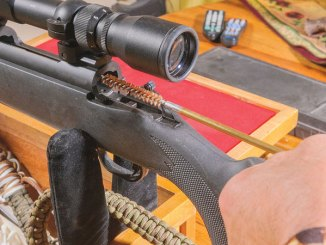 Brushing out the barrel of a bolt-action rifle is one of the first steps in an end-of-season cleaning job.