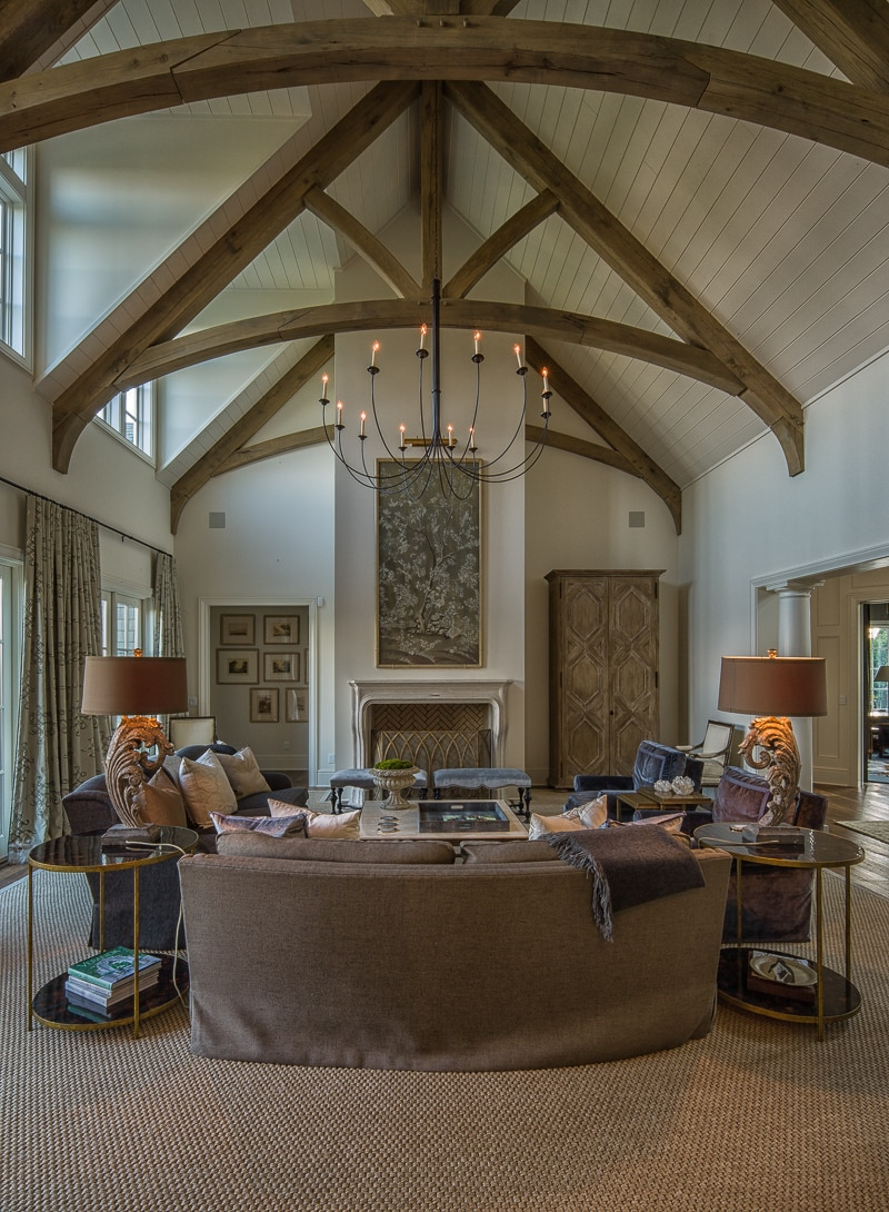 living room decorating ideas picture frames design tv over fireplace timber frame great rooms lodge and white oak king post trusses