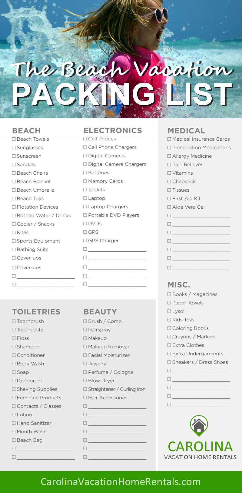 Beach Vacation Checklist Carolina Vacation Home Rentals