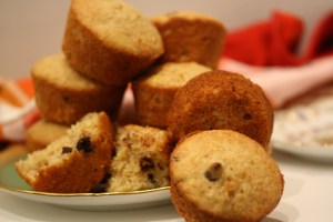 Chocolate Chip Banana Muffins (with wheat germ! and whole wheat flour!)