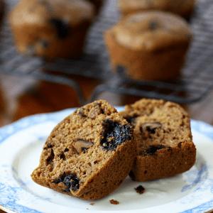 Whole Wheat Blueberry Zucchini Muffins {no refined sugar}