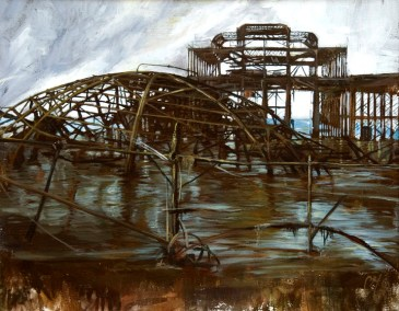 """West Pier Ruin"". Acrylic on board. 35cm x 45cm."