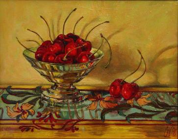 """Cherries on Enamel"" Acrylic on board 35cm x 40cm"