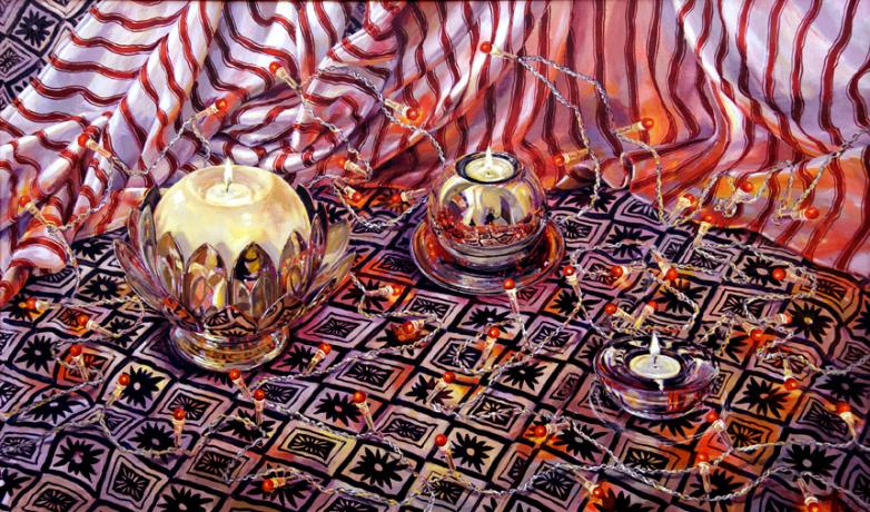A still life painting in acrylic of nightlights in glass and chrome reflective containers on fabric with fairy lights and a striped background. Signed by the artist Caroline Marsland.