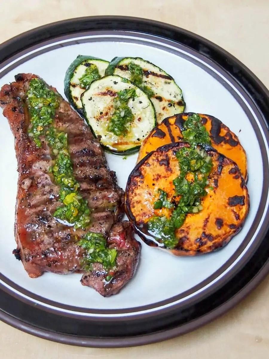 grilled butternut squash, zucchini & steak with chimichurri sauce