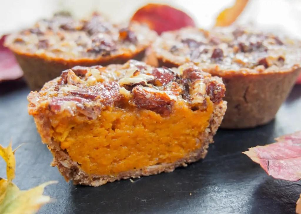 Healthier mini sweet potato pecan pie