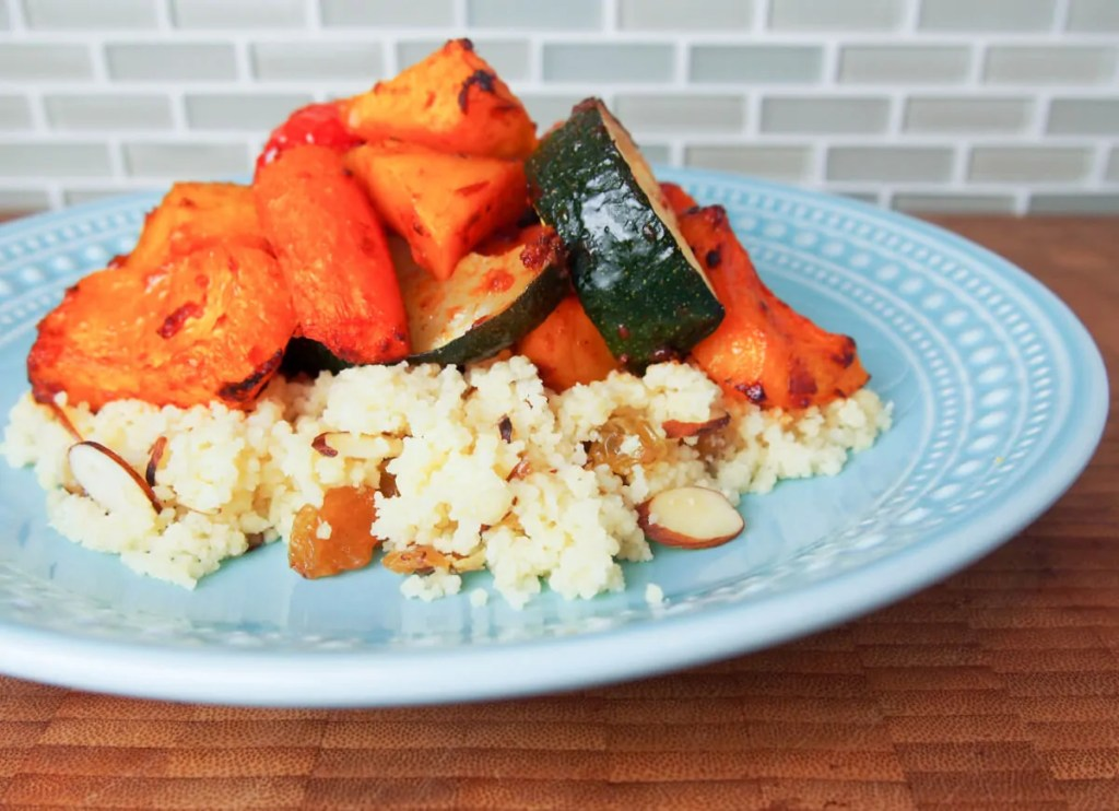 Harissa-roasted vegetables with couscous #SundaySupper