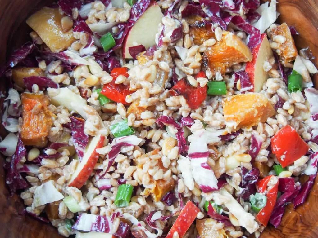 Farro salad with roasted squash, radicchio and lemon-tahini dressing